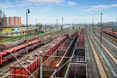 Cargo train platform with container Stock Photography