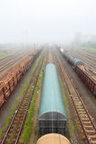 Cargo train platform with container, railway Stock Images