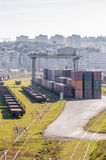 Cargo train platform Stock Photography