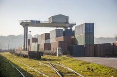 Cargo train platform Stock Photo