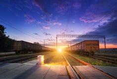 Cargo train platform at night. Railroad in Ukraine. Railway stat Royalty Free Stock Photo