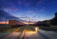 Cargo train platform at night. Railroad in Ukraine. Railway Royalty Free Stock Photos