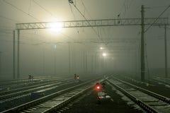 Cargo train platform at night. Railway station Stock Photo