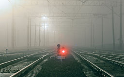 Cargo train platform at night. Railway station Royalty Free Stock Photography