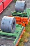 Cargo train platform with role steel Stock Photo