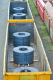 Cargo train platform with role steel Stock Photography