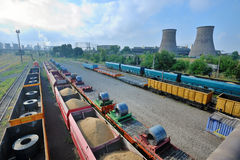 Cargo train platform with role steel Stock Images
