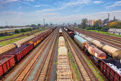 Cargo train platform at sunset with container Royalty Free Stock Photo
