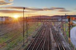 Cargo Train platform at sunset. Railroad Royalty Free Stock Images
