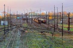 Cargo Train platform at sunset. Railroad Royalty Free Stock Image