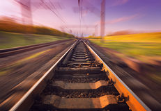 Cargo train platform at sunset. Railroad. Railway station Stock Image