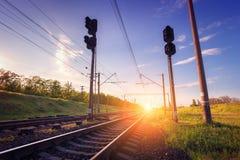 Cargo train platform at sunset. Railroad in Ukraine. Railway Royalty Free Stock Photography