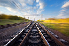 Cargo train platform at sunset. Railroad in Ukraine. Railway Royalty Free Stock Image
