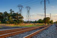 Cargo train platform at sunset. Railroad in Ukraine. Railway Stock Photos