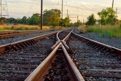 Cargo train platform at sunset. Railroad in Ukraine. Railway Stock Photography