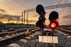 Cargo train platform at sunset. Railway station Stock Photo