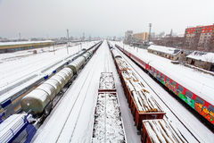 Cargo train platform at winter, railway - Freight tranportation Royalty Free Stock Photography