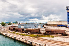 Cargo train with port infrastructure in Port Ploce, largest sea port in southern Croatia Royalty Free Stock Images