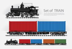 Cargo train on a rail road. Vector illustration royalty free illustration