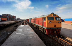 Cargo train. By the railway station Royalty Free Stock Photos