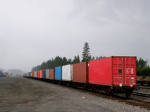 A cargo train seen from the rear Royalty Free Stock Images