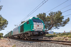 Cargo train in Spain royalty free stock images