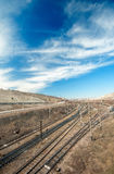 Cargo train station and rails Stock Photography
