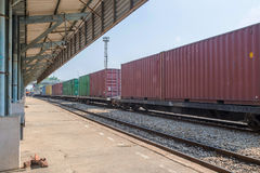 Cargo train in  station. State railway Royalty Free Stock Photos