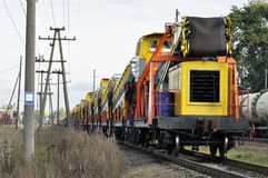 Cargo train stay on railway Royalty Free Stock Images