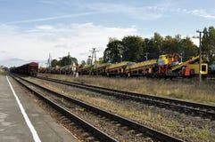 Cargo train stay on railway Royalty Free Stock Photos