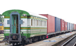 Cargo Train On Track At Station. Stock Photo