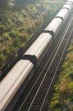 Cargo train on tracks Stock Image