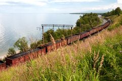 Cargo train on Trans Baikal Railway Stock Images