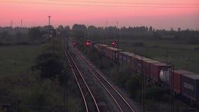 Cargo Train Transportation on Railways, Freight Train Running Towards Station stock video