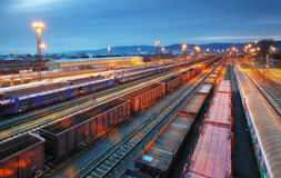 Cargo train trasportation - Freight railway Royalty Free Stock Images