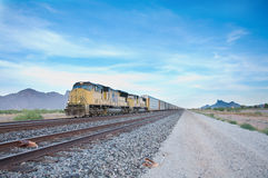 Cargo train travelling across USA Royalty Free Stock Photography