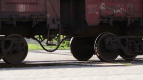 Cargo train wheels close up. Transportation concept stock video footage