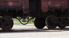 Cargo train wheels close up Stock Photo