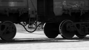 Cargo train wheels close up. Transportation concept stock footage