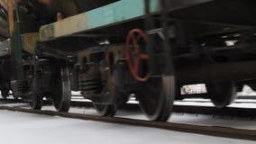 Cargo train in winter stock video footage