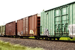 Cargo trains. Rolling on the tracks Stock Photos