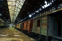 Cargo trains in old train depot Royalty Free Stock Photography