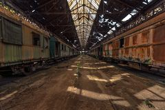 Cargo trains in old train depot Royalty Free Stock Photos