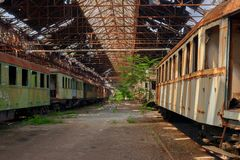 Cargo trains in old train depot Stock Image