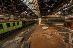 Cargo trains in old train depot Stock Photo