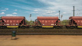 Cargo trains in old train depot. Eaten by the rust stock footage