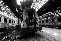 Cargo trains in old train depot Royalty Free Stock Photo