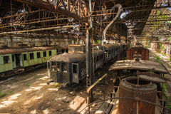 Cargo trains in old train depot Royalty Free Stock Images