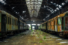 Cargo trains in old train depot Stock Photos