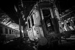 Cargo trains in old train depot Stock Images